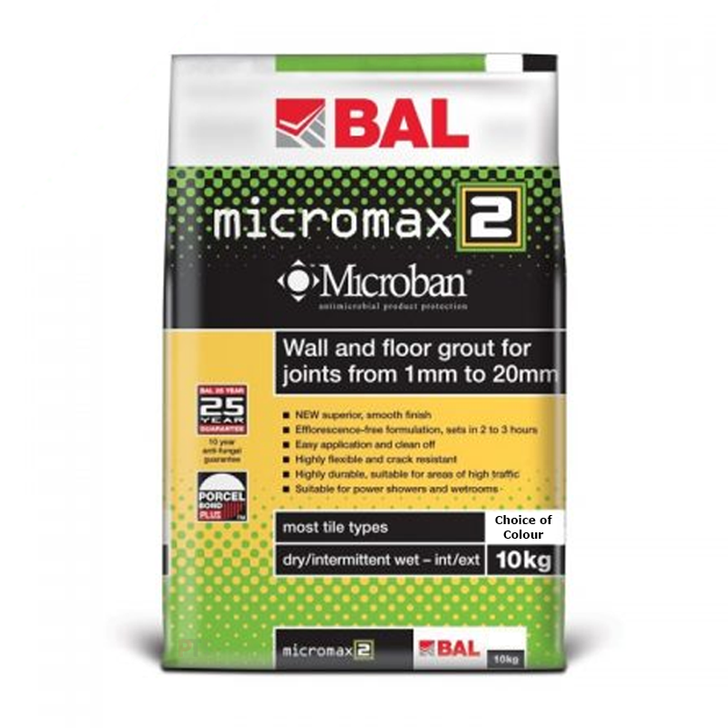 BAL Micromax 2 Flexible Wall & Floor Grout With Microban 10kg (Choice of Colours)