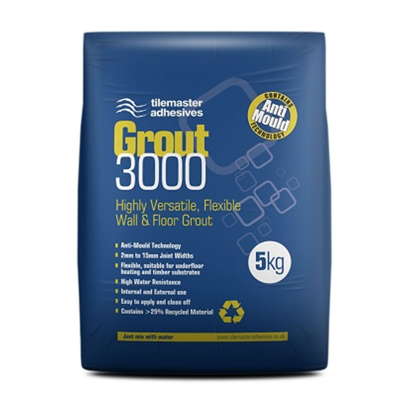 Tilemaster Grout 3000 Highly Flexible Wall & Floor Grout 5kg (Choice of colours)