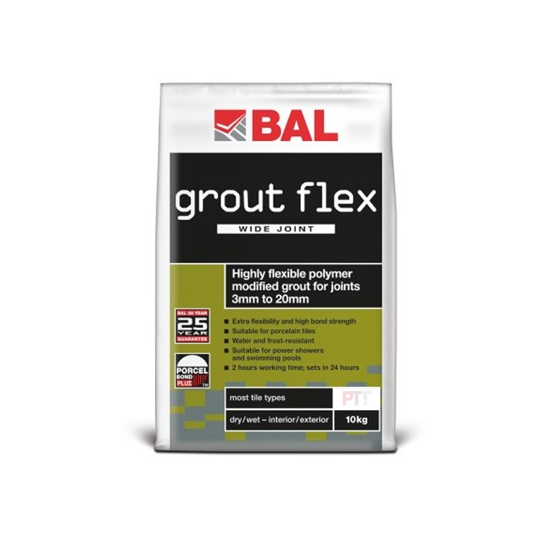 BAL Grout Flex Wide Joint Flexible Tile Grout For Walls & Floors 10kg (Choice Of Colour)