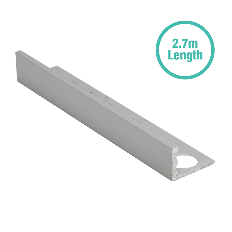 10mm - ESA107.81 Genesis Matt Silver Straight Edge Tile Trim ESA 2.7m