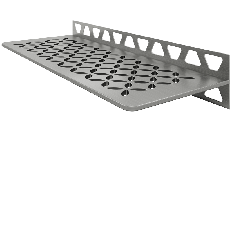 Schluter SHELF-W-S1 Brushed Stainless Steel Floral Design Tile In Shelf
