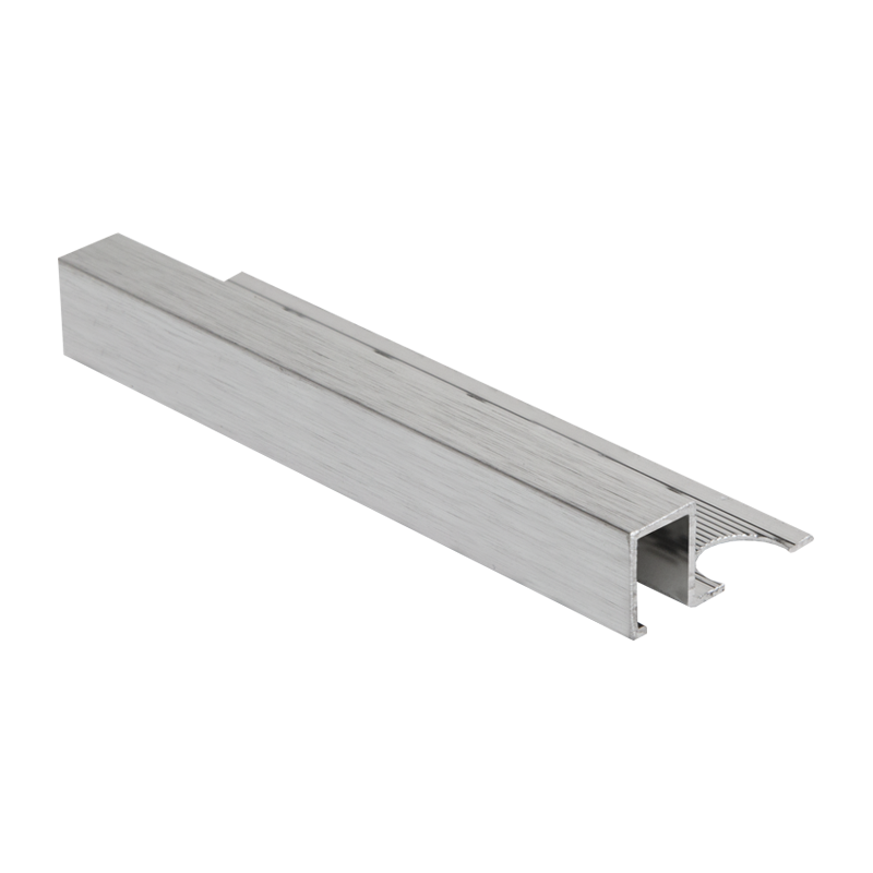 8mm - AMQE80B PREMTOOL Square Edge BRUSHED Silver Tile Trim
