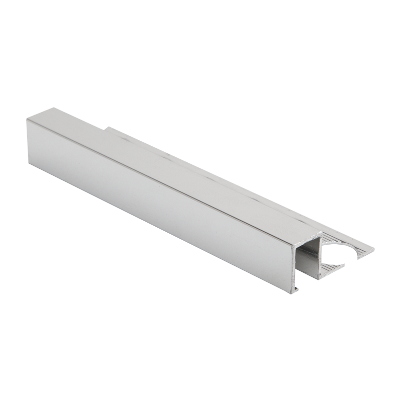 8mm - AMQE80P PREMTOOL Square Edge POLISHED Silver Smart Tile Trim AMQ