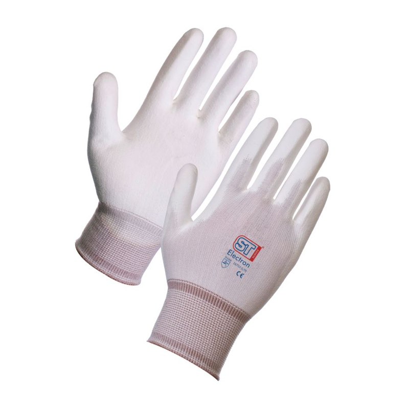 Supertouch Electron PU Coat Nylon Work Gloves White Medium